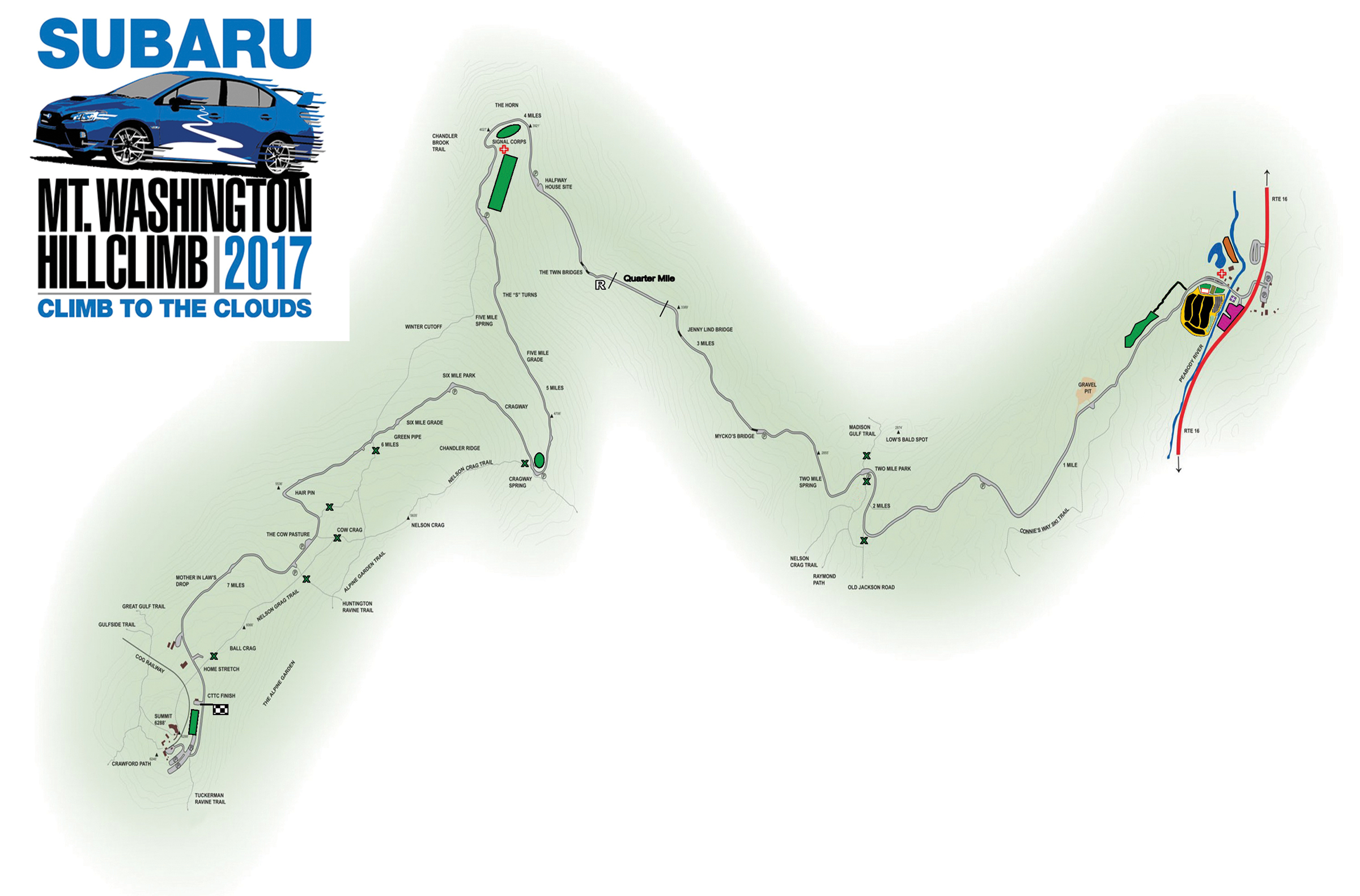 Race Course Map Climb to the Clouds Mount Washington Auto Road